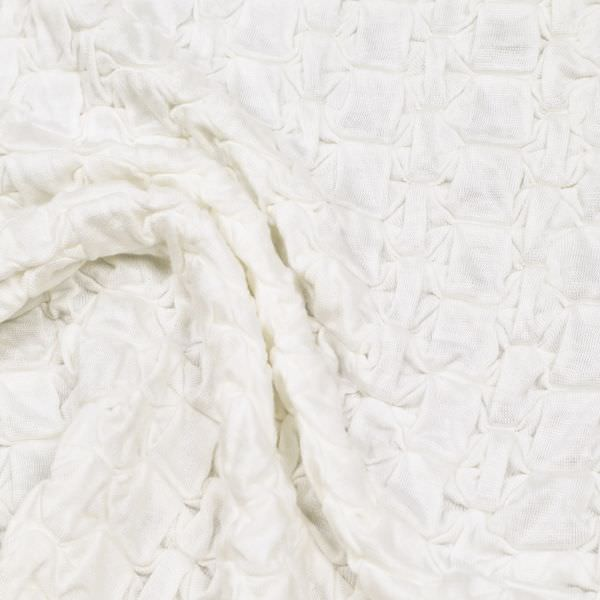 Stretch Baumwolljersey gesmokt uni - wollweiss