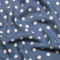 Viskosestoff Punkte - jeansblau/weiss (2.Wahl)