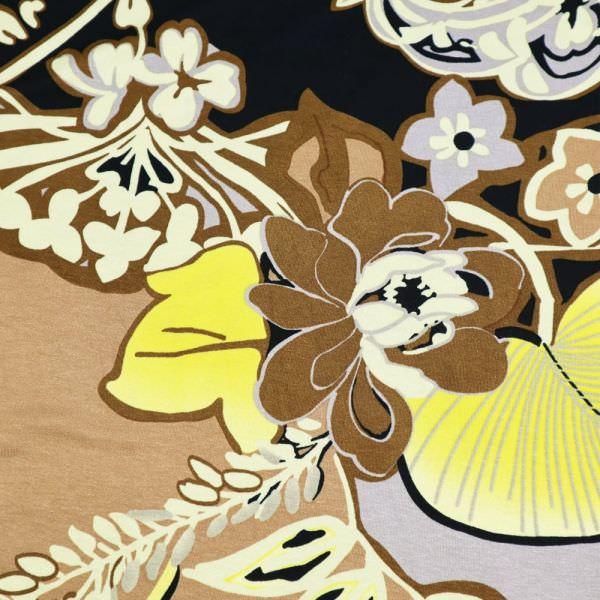 Viskosejersey mit großem Blumen-Motiv - taupe/hellbraun/gelb/khaki/nachtblau