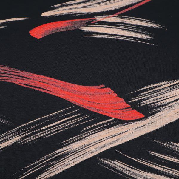 Baumwolljersey Pinsel Streifen - schwarz/beige/rot