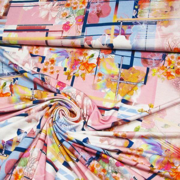 Viskosejersey Blumen-Motiv Pastell - wollweiss/rosé/gelb/apricot/hellblau