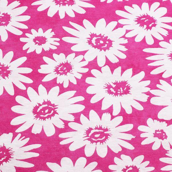Viskosejersey mit Blumen - fuchsia/weiss