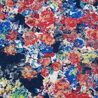 Viskosejersey bunte Blumen - gelb/rot/royalblau/grün