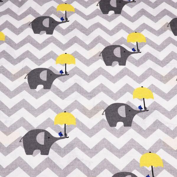 Kinderstoff Baumwollstoff Elefanten & Zick Zack Streifen - weiss/gelb/grau Öko-Tex Standard 100