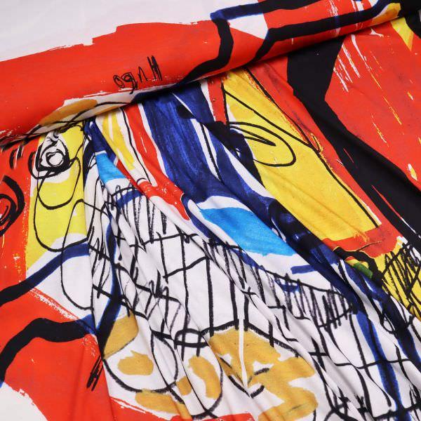 "Viskosejersey ""Abstrakte Art"" - weiss/gelb/rot/türkis"