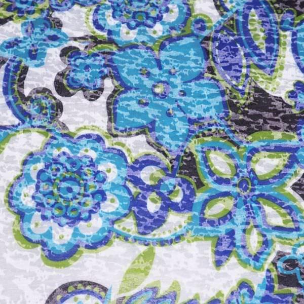Ausbrenner Jersey mit Blumen - weiss/kiwi/türkis/dunkelblau/braun