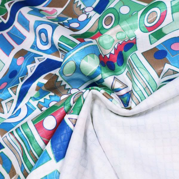 Stepp Jersey Geometrisches Muster- wollweiss/fuchsia/türkis/grün/blau