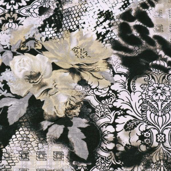 Viskosejersey Blumen & Ornamente - schwarz/weiss/grau/taupe/beige