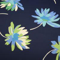Baumwoll- Twill grosse Blumen - nachtblau/creme/kiwi/blau