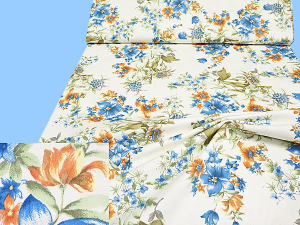 Baumwollstoff mit Blumen-Motiv - wollweiss/blau/lachs