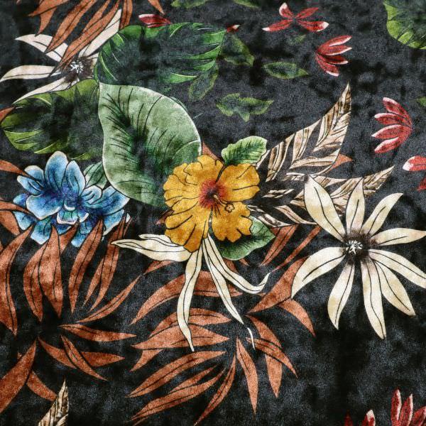 Stretch Pannesamt Exotische Blumen - schwarz/rostbraun/blau/dunkelgrün