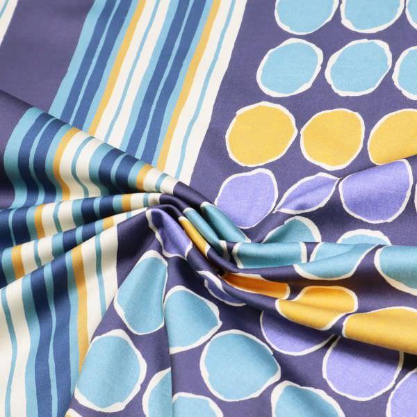 Stretch Baumwollstoff Kreise & Streifen - wollweiss/jeansblau/ocker/marineblau