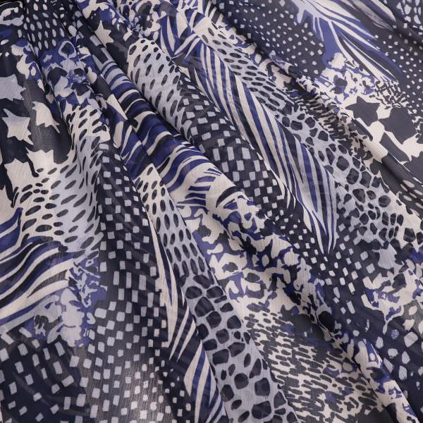 Crêpe Chiffon Muster-Mix - wollweiss/dunkelblau/hellblau