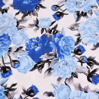 Baumwolljersey Rosen - weiss/hellblau/royalblau/grau Extra breit !