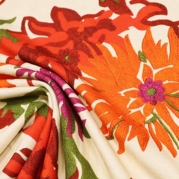 Piqué Baumwolljersey Sommerblumen - creme/orange/fuchsia/rot/grün