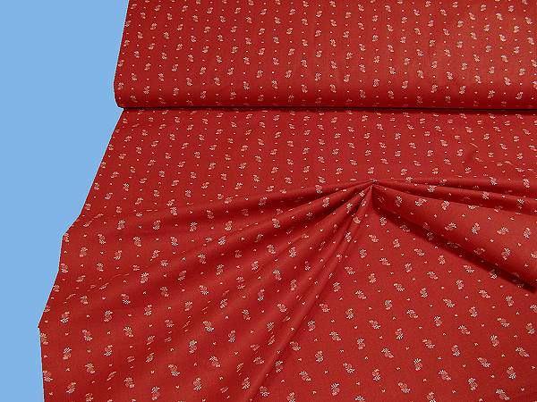 Baumwoll-Trachtenstoff Streublümchen - rot/weiss