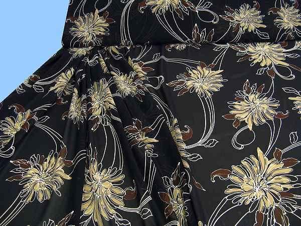 Chiffon mit Blumenmotiv - schwarz/beige/braun/weiss