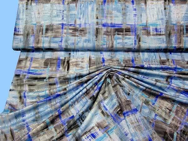 Lycra Jersey Fantasie - blau/hellblau/brombeere/grau