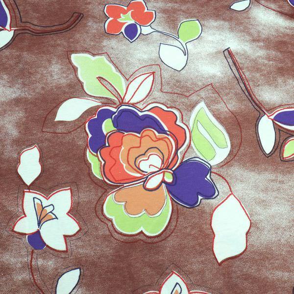 Baumwolljersey mit Blumen-Motiv - braun/koralle/hellgrün/lila