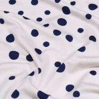 Viskosejersey mit Punkten - wollweiss/marineblau