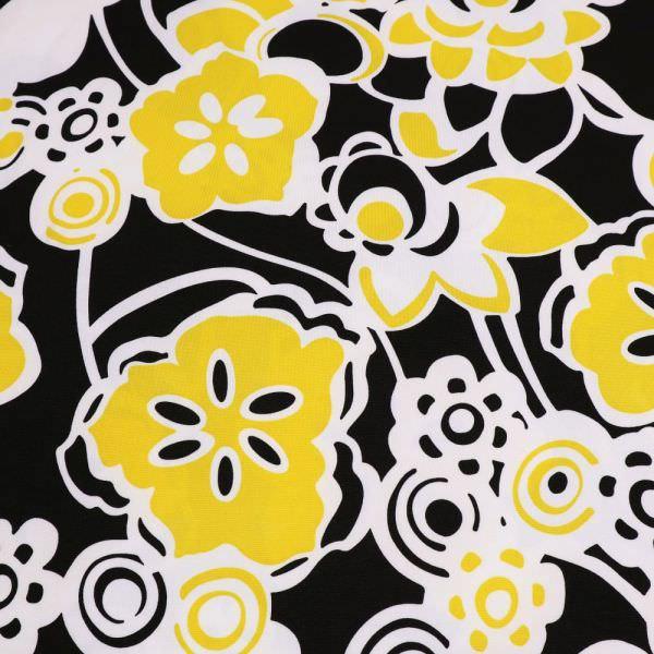 Jersey mit Blumen-Motiv - weiss/gelb/schwarz (Reststück - 5,6m)