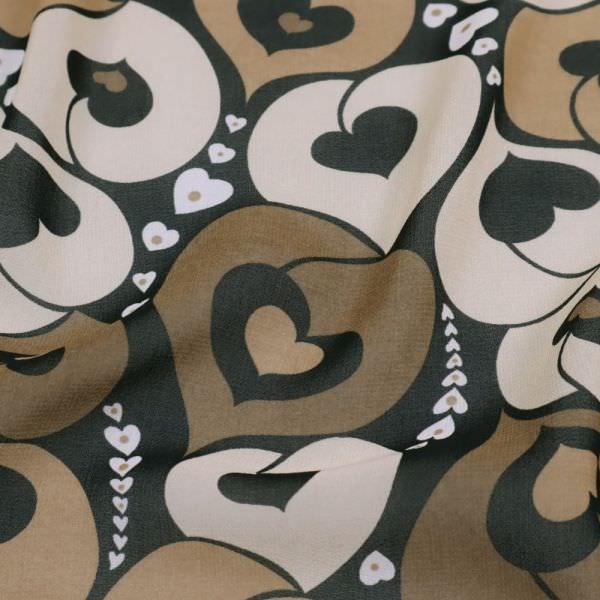 Stretch Chiffon mit Herzen - schwarz/braun/beige