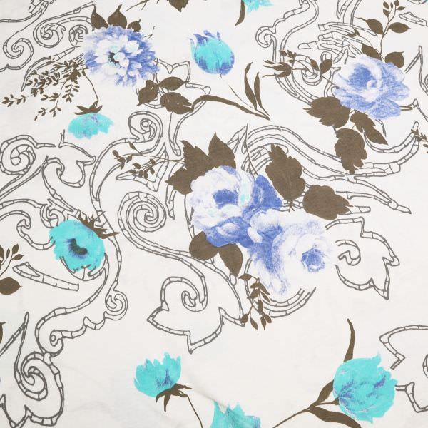 Baumwolljersey Rosen & Tulpen - wollweiss/türkis/blau/taupe/grau