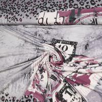 Viskosejersey mit Fantasie-Motiv - wollweiss/grau/brombeer/braun/schwarz