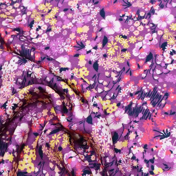 Viskose Twill Blumenwiese - violett/lila/gelb/koralle/apricot
