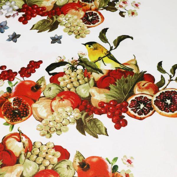 Dekostoff Früchte & Vögel - wollweiss/gelb/rot/orange/schilfgrün