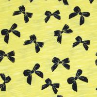 Slub Jersey Baumwolljersey Schleifchen - gelb/nachtblau Extra breit !