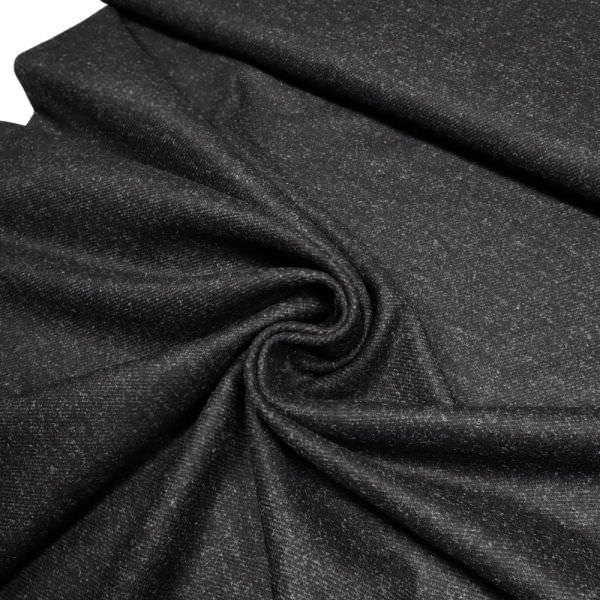 Wollstoff-Mix mit Köperbindung Melange - schwarz/grau (Reststücke)