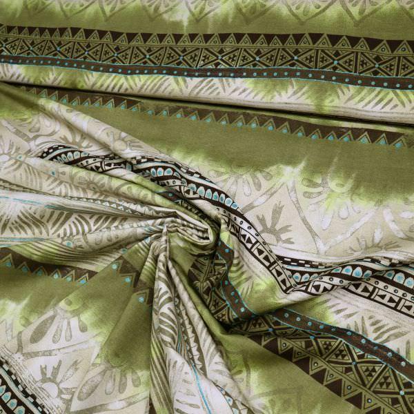 Baumwoll- Voile Africanstyle & Glitzereffekt - beige/olivgrün/braun/türkis