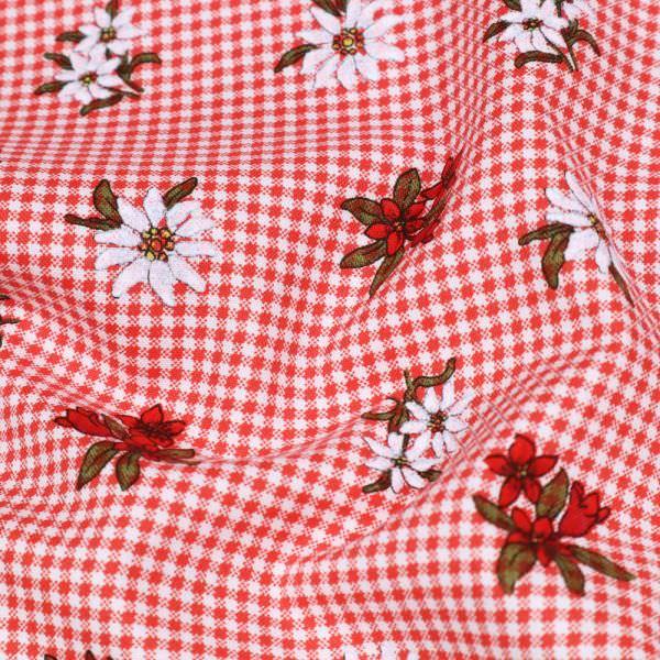 "Baumwollstoff ""Vichykaro&Edelweiss-Blume"" - weiss/rot/olivgrün/dunkelrot"
