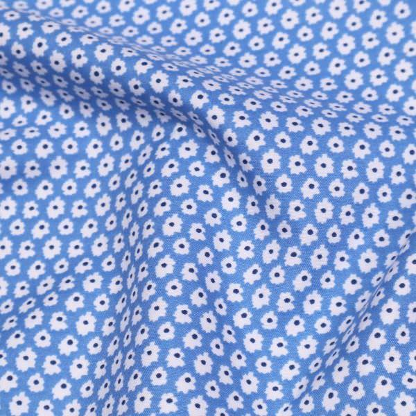Blusen- und Kleiderstoff mit Blümchen - hellblau/weiss/dunkelblau