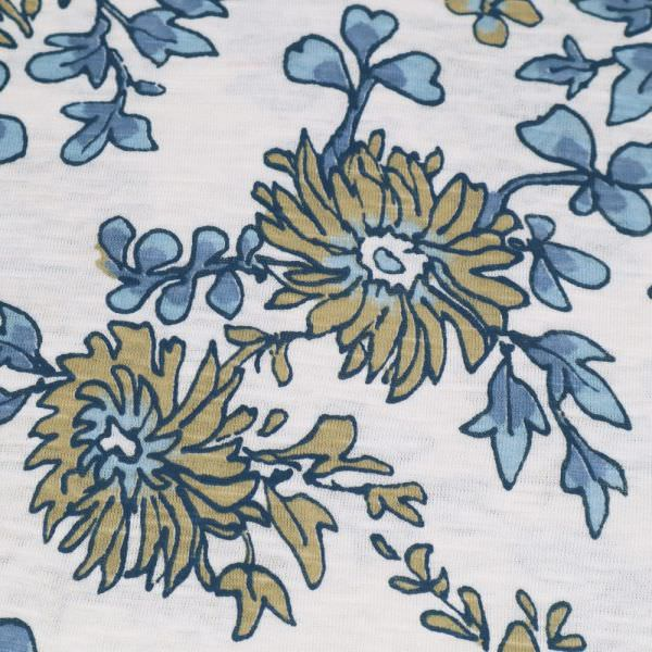 Slub Jersey Baumwolljersey mit Blumen-Motiv - wollweiss/hellblau/jeansblau Extra breit !