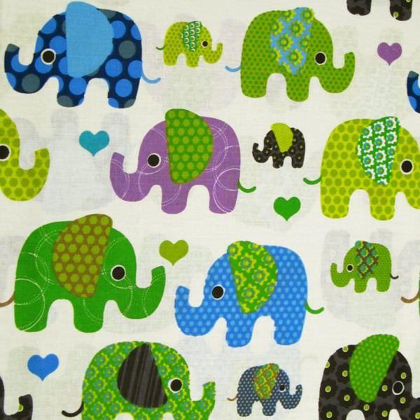 Kinderstoff Baumwollstoff bunte Elefanten - wollweiss/grün/blau/anthrazit Öko-Tex Standard 100