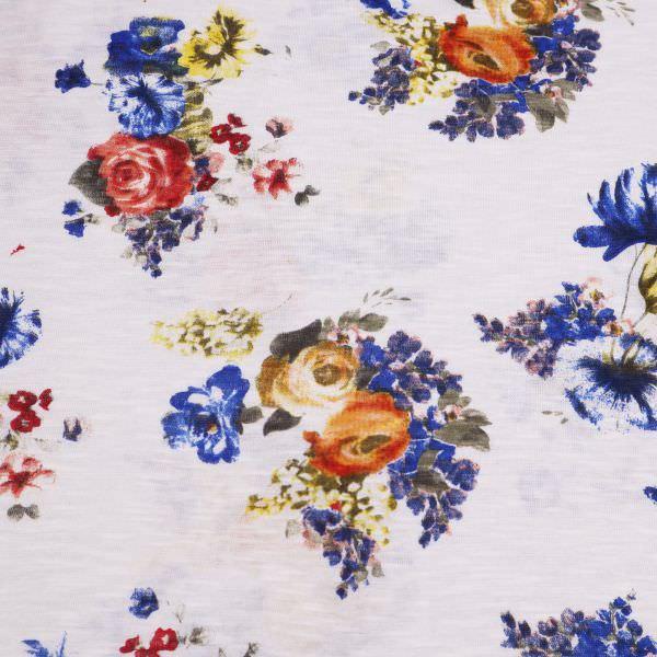 Slub Jersey Baumwolljersey Blumen - wollweiss/gelb/orange/dunkelblau