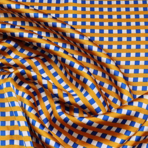 Satin mit Karo - wollweiss/orange/königsblau