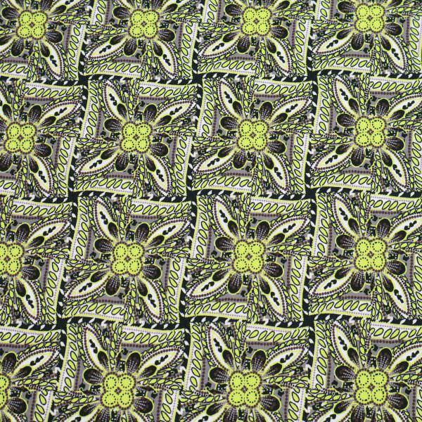 Stretch Baumwoll- Popeline Rechtecke Blumen - schwarz/gelb/taupe