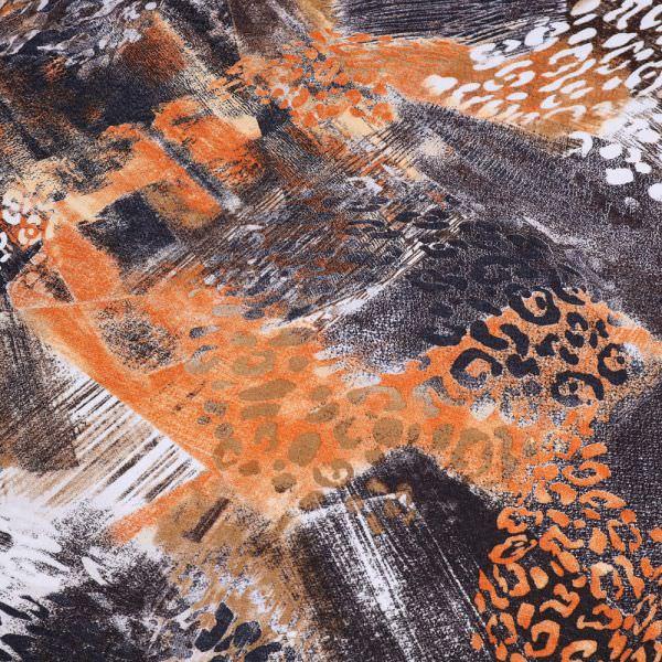Viskosejersey mit Leoparden-Muster - wollweiss/terrakotta/orange/braun