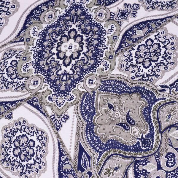Viskosejersey Orientalisches Motiv - weiss/dunkelblau/grau/olivgrün