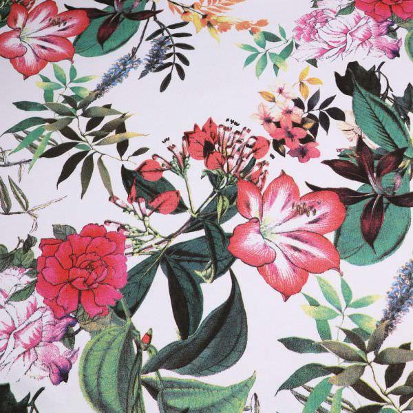 Sweatshirt Stoff Exotische Blumen - weiss/rot/fuchsia/orange/dunkelgrün Extra breit !