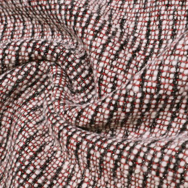 Bouclé Wollstoff gemustert & Lurex - schwarz/rot/wollweiss/silber