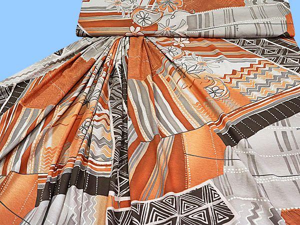 Piqué Jersey bedruckt - terrakotta/braun/taupe/grau