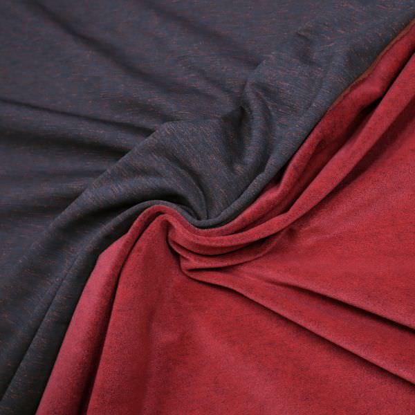 Thermo Jersey-Fleece Melange - schwarz/nachtblau/rot