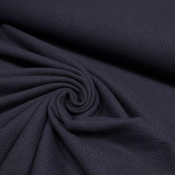 Wollstoff-Mix Pikee uni - nachtblau