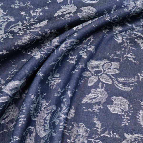 Tencel Jeans-Optik mit Blumen - jeansblau/eisblau