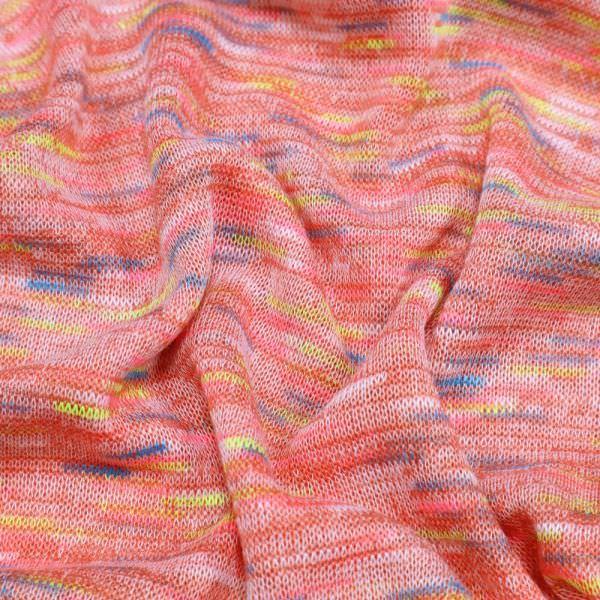 """Feinstrick """"Melange"""" - lachs/pink/türkis/gelb/weiss (Reststück 4,0m)"""