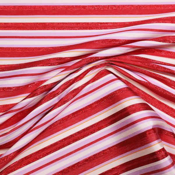 Stretch Baumwolle-Polyester Mix Lurex & Quersterifen - wollweiss/rot/flieder/orange